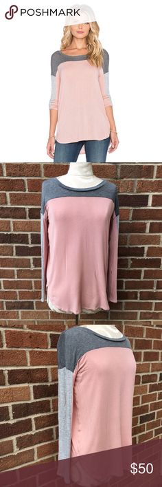 SPLENDID DRAPEY LUX COLOR BLOCKED LONG SLEEVE TOP Worn once! Like new condition. Splendid brand size medium long sleeve draped lux color blocked shirt. Dolman style. Dusty rose/gray combo. No flaws. AMAZINGLY soft!! Please view all photos and ask questions before purchase. No trades. Reasonable offers welcome. Thanks!!b Splendid Tops Tees - Long Sleeve