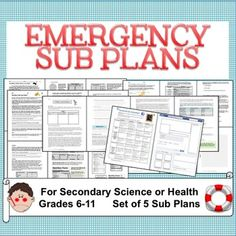 Emergency Sub Plans for secondary science (and health). Grades 6-12. 5 plans to get you through the school year for those emergency sick days!