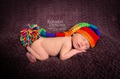 25 rainbow baby photos guaranteed to light up your day. This rainbow elf hat is simple but still plenty sentimental (CarolinaHats/Etsy, $20) for a classic naked baby shot.