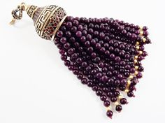 Large Long Deep Purple Jade Stone Beaded Tassel by LylaSupplies