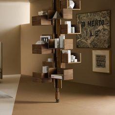 Bibliothèque sol plafond / contemporaine / en noyer / en MDF ALBERO by Gianfranco Frattini POLTRONA FRAU