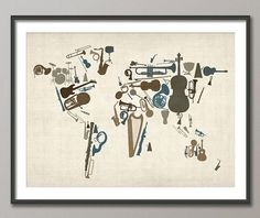Music Instruments Map of the World Map Art Print 18x24 by artPause, £14.99