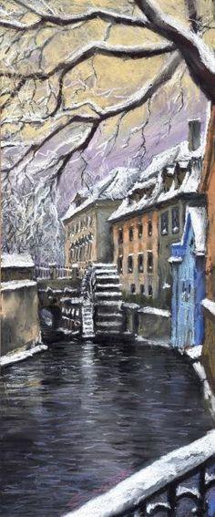 Prague Chertovka Winter Print By Yuriy Shevchuk