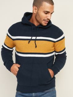 Old Navy Color-Blocked Sweater Hoodie for Men Hoodie Outfit, Sweater Hoodie, Men Sweater, Pullover, Knit Fashion, Male Fashion, Cotton Sweater, Mens Clothing Styles, Mens Sweatshirts