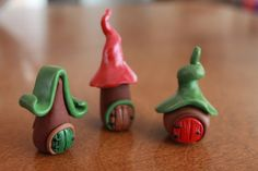 Set of Three Miniature Gnome/Fairy Homes - Made to Order - Polymer Clay