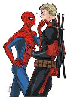 Spideypool, Superfamily Avengers, Deadpool X Spiderman, Image Spiderman, Marvel Memes, Marvel Dc Comics, Marvel Avengers, Disneysea Tokyo, Image Couple