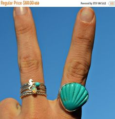 Turquoise Shell Rings. Opal Stackers. Sea Horse Ring. Beach Vida Bling. #bellabeachjewels