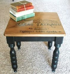 Coffee Table Redo table,wood top and word detail.