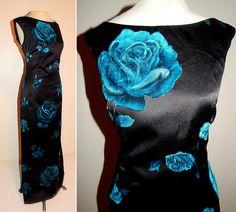 Vintage 50's 60's Rare Designer Flocked ROSES Satin Cocktail Dress // 1960's HEISER Couture Devore / Velvet Rose Print Gown & Jacket / MOD by TheVintageVaultShop on Etsy