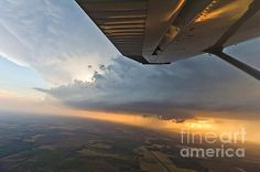 Aerial Storm Chasing sunset near La Crosse, KS.  5/25/2012.
