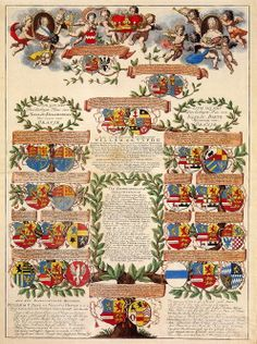 The family tree, portrayed in coats of arms, of Prince Willem IV of Orange, Holland, and his wife, Princess Frederica Sophia of Prussia. (www.hethuisvanoranje.nl)