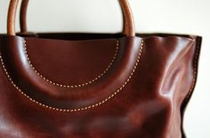 maniglia   Hand Stitched Washed - Out Brown Leather Tote Bag
