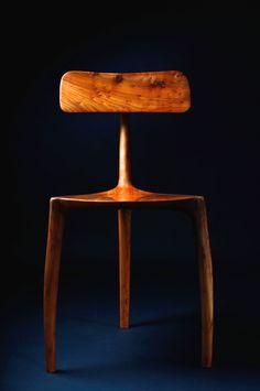 Jack Draper; English Elm '3 Legs' Chair, 2010s.