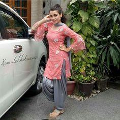 Image may contain: 1 person Punjabi Salwar Suits, Punjabi Dress, Patiala Suit Designs, Indian Suits, Indian Girls, Yellow Dress, Color Combinations, Casual Wear, Hot Girls