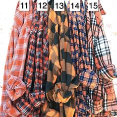 PUMPKIN SPICE Orange Mismatched Flannels, Bridesmaid flannel shirts for getting ready, wedding plaids, alternative bridesmaid robes Flannel Wedding Dress, Plaid Wedding, Plaid Shirt Outfits, Mom Outfits, Fashion Outfits, Mens Fashion, Bridesmaid Shirts, Bridesmaids, Leggings Outfit Fall