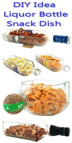 Liquor Bottle Snack Bowl // by Nurse Betty (diy projects glass jars) Wine Bottle Crafts, Bottle Art, Beer Bottle, Diy Projects To Try, Craft Projects, Craft Ideas, Recycler Diy, Snacks Dishes, Bottle Cutting