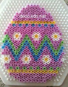 Pink Easter egg hama perler beads by Deco.Kdo.Nat