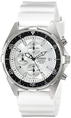 online shopping for Casio Men's Classic Analog Chronograph White Resin Band Watch from top store. See new offer for Casio Men's Classic Analog Chronograph White Resin Band Watch Cheap Watches For Men, Affordable Watches, Luxury Watches For Men, Cool Watches, Wrist Watches, Watches Online, Stainless Steel Case, Casio, Chronograph