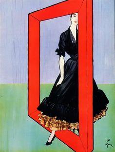 Christian Dior, 1947 par René GRUAU (1909 – 2004) père aristocrate italien et mère française, Marie Gruau dont il prendra le nom. Il s´installe à Paris dès 1924 et commence sa carrière de dessinateur de mode. Il collabore avec les magazines Femina, Marie-Claire, etc... En 1947 son ami Christian Dior lui commande des dessins publicitaires.