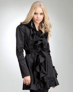 Ruffle Trench Coat $129