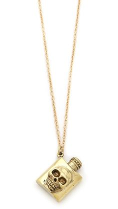 Monserat De Lucca Skull Flask Necklace $49.00