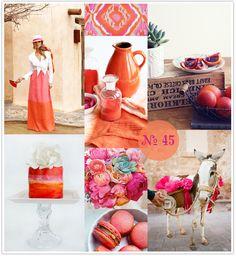 Mood Board #45: Blood Orange. Burnt orange and fuchsia wedding. Orange and fuchsia. #Orange and #pink wedding.