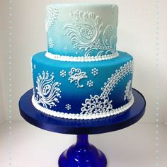 Blue Ombre Peacock Feather Cake