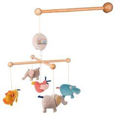 Wunderschönes Musik-Mobile aus der Reihe Les Papoum von Moulin Roty.        Hübsches Mobile bei dem die Tiere der Savanne zur Musik tanzen. Die niedlichen Tiere aus Stoff sind kuschelig weich.        Melodie:...