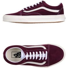 Vans Sneakers ($76) ❤ liked on Polyvore featuring shoes, sneakers, mauve, vans sneakers, flat shoes, round cap, vans trainers and leather trainers