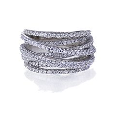Double Accent | Rhodium Plated Sterling Silver Intertwined Design CZ Right Hand Ring 13.5mm