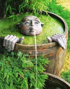 Barrel Garden Water Spout from a Face! | Sean Cowen - Google+ - Gardening With a Sense of Humor Loved this one, and it…