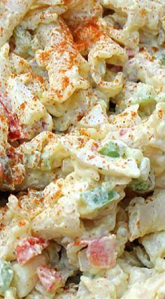 Deviled Egg Macaroni Pasta Salad - a must have at picnics, BBQs, potlucks, parties and a great home-cooked side dish! Macaroni Pasta Salad, Pasta Salad Recipes, Deviled Egg Macaroni Salad Recipe, Macaroni Recipes, Cucumber Recipes, Spinach Recipes, Deviled Eggs, Casserole Recipes, Salad Bar