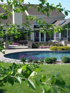 Beautiful pool landscaping done by Waterloo Landscaping.