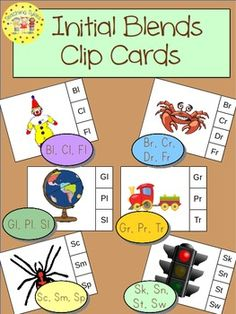 These cards are terrific – A Hands-On Activity your kiddos will love! Initial Blends Clip Cards allow learners to practice initial consonant blends. On each card is a picture and three (or four) blend choices. Learners say the picture name and clip a clothespin to the correct corresponding blend choice. This set of 264 cards provides practice for Bl, Cl, Fl, Br, Cr, Dr, Fr, Gl, Pl, Sl, Gr, Pr, Tr, Sc, Sm, Sp, Sk, Sn, St, and Sw.