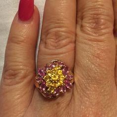 STUNNING NATURAL PINK & YELLOW SAPPHIRES IN 10K YG Gorgeous Pink & Yellow Natural Beauties set in sturdy 10k Yellow Gold.  1.90 ctws. Of Marquis  Pink 💗and Round Diamond Cut Yellow .💛This ring is super gorgeous. . Colors just pop and sparkle.  Truly lovely   Contact me at theresahesse32@gmail.com..with questions. Beauty Beyond Belief Jewelry