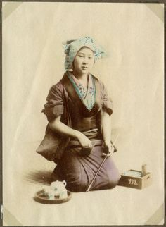 Donated by principal Preben von Irgens-Bergh. Vintage Pictures, Old Pictures, Old Photos, Japanese Outfits, Japanese Clothing, Old Photography, Japanese Beauty, Geisha, Hand Coloring