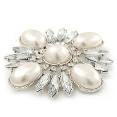 Bridal Vintage Inspired Clear Crystal, White Synthetic Pearl Square Brooch In Rhodium Plating - 60mm Across * Find out more about the great product at the image link. (This is an affiliate link) #Jewelry