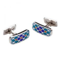 Cetus Blue/Tangerine Luxury Wedding Cufflinks Scales of tonal translucent Dur-Enamel counterpointed with Swarovski Crystal details.  Free delivery UK Mainland & Worldwide Shipping These cufflinks are boxed in a beautiful handmade, FSC certified, bamboo gift box with a matching travel pouch.