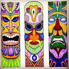 Tiki Tattoo, Totem Tattoo, Totem Pole Drawing, Tiki Maske, Tiki Faces, Tiki Head, 3d Foto, Tiki Statues, Polynesian Art