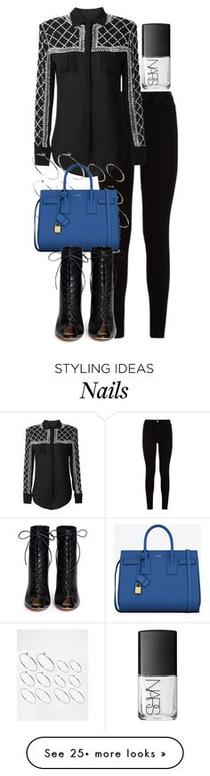 """Untitled #1876"" by thatssojill on Polyvore featuring 7 For All Mankind, Balmain, ASOS, Yves Saint Laurent, Gianvito Rossi and NARS Cosmetics"
