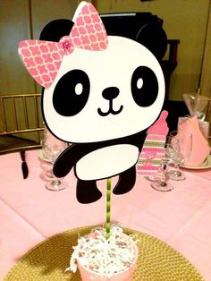 Baby Panda baby shower party centerpieces! See more party planning ideas at CatchMyParty.com!
