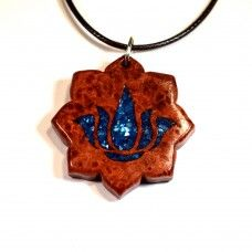 Padma Blossom (Red Amboyna Burl with Blue Crushed Shell Inlay) #lotus #yoga #jewelry #handcrafted