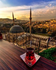 @engin_goksu #comeseeturkey #turkey #sanliurfa #tea #turkishtea #mosque #clouds #sky #nature #greatshot