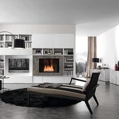 Raised built in Fireplace
