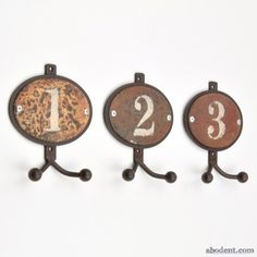Boat Yard Coat Hooks | numbered distressed coat hook set A set of rustic numbered coat hooks, Distressed rusted metal face plates, Solid metal construction, Sold as a set of three, Each hook has two ball tipped arms, totalling six hook arms per set, set of numbered coat hooks, old rusty wall hooks, vintage style wall hooks, old weathered metal hooks with numbers. , coat hooks, wall hooks, hook, hooks, UK 3 cm deep x 11.5 cm wide x 13.0 cm high. | £14.99