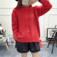 Cheapest Sweater Newly Fashion All Match Round Neck Sweater Red