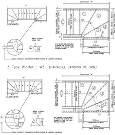 The design of a staircase must comply with strict building codes and stair details in order to ensure safety and climbing comfort.Designing a staircase. Staircase Drawing, How To Draw Stairs, Stairs And Doors, Cad File, Stair Detail, Newel Posts, Building Code, Cad Blocks, Technical Drawing
