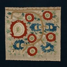 Ottoman Silk Embroidery – Turkey, 17-18th c, silk on cotton, sewn on a ground cloth and stretcher.