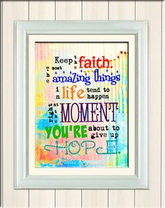 01015, Keep the Faith Print, Subway Art, Unframed Inspirational Art, Wall Print, Digital Print, Eclectic Style Print, Made in the USA - pinned by pin4etsy.com