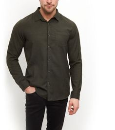 "Opt for winter hues on nights out with this khaki long sleeve shirt - finish with black jeans and derby shoes.- Collared neck- Button front fastening- Single pocket front- Simple long sleeves- Casual fit that is true to size- Model is 6'0""/183cm and wears size Medium/Chest 96-101cm"